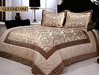 Gulendam, 3-PC Satin Bedspread Set, fits both Queen & King, Sateen and Velour Bedspread Set (Quilt & Pillow Shams) in Solid Off-White with Silver and Gold Ornate