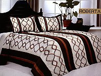 Roberta, 3-PC Satin Bedspread Set, fits both Queen & King, Bedspread Set (Quilt & Pillow Shams) in a combination of Terracota Stripes with Brown Embroidery