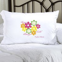 Flowers and Faith Personalized Pillowcase (inscribe pillowcase with name or other personal inscription, upto 20 characters)