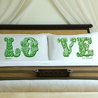 Complementing Pair of Garden Green Love Connection Personalized Pillowcases for Couples (personalized with his and her first names)
