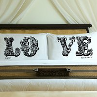 Complementing Pair of Midnight Black Love Connection Personalized Pillowcases for Couples (personalized with his and her first names)