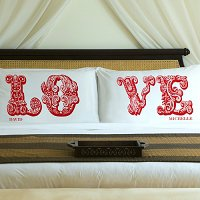 Complementing Pair of Romantic Red Love Connection Personalized Pillowcases for Couples (personalized with his and her first names)