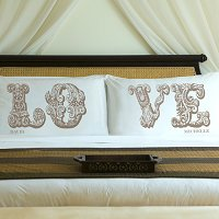 Complementing Pair of Shimmering Sand Love Connection Personalized Pillowcases for Couples (personalized with his and her first names)