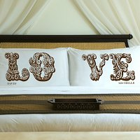 Complementing Pair of Truffle Brown Love Connection Personalized Pillowcases for Couples (personalized with his and her first names)