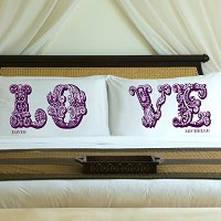 Complementing Pair of Whimsical Wine Love Connection Personalized Pillowcases for Couples (personalized with his and her first names)
