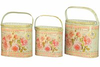 French country planters vintage metal decorative containers & flower pots (set of 3)