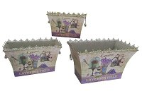 French country planters rectangular vintage metal decorative vases & flower pots (set of 3)