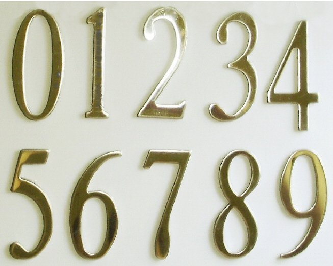 Polish brass mailbox or house numbers 2inch with exterior grade adhesive