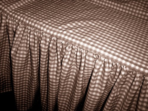 Brown Gingham Check Bedskirt In All Sizes From Twin To