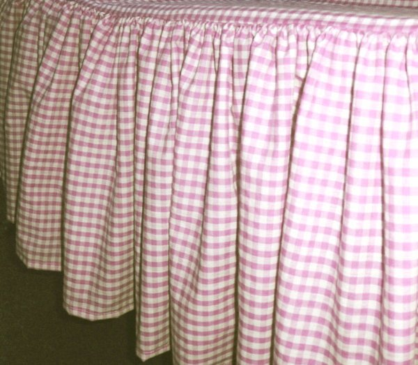 Light Pink Gingham Check Bedskirt In All Sizes From Twin