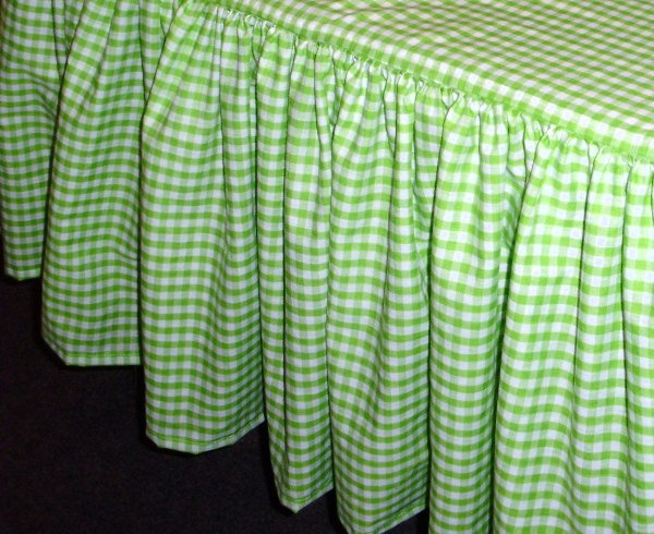 Lime Green Gingham Check Bedskirt In All Sizes From Twin