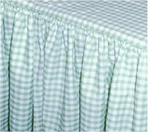 mint green gingham check bedskirt (in all sizes from twin to cal