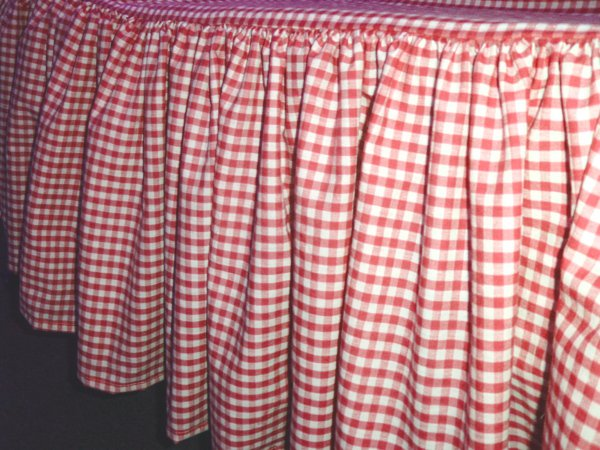 Red Gingham Bed Skirt Queen