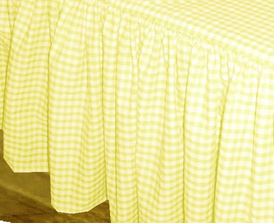 yellow gingham check bedskirt (in all sizes from twin to cal-king
