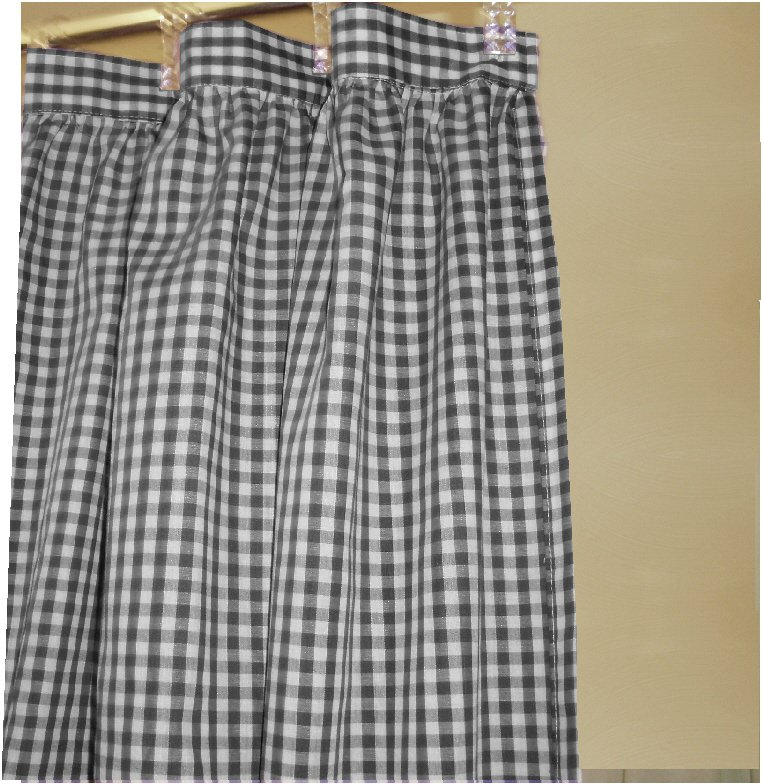 Black Gingham Check Shower Curtain