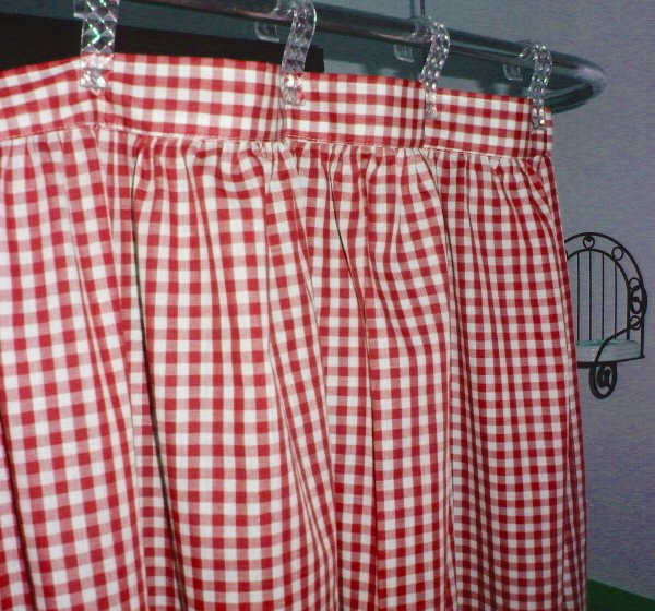 Red Gingham Check Shower Curtain