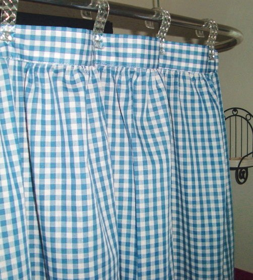 Turquoise Gingham Check Shower Curtain