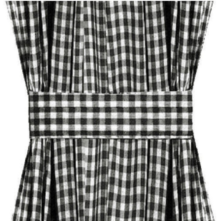 Black Gingham French Door Curtain Panels Available In Many Lengths