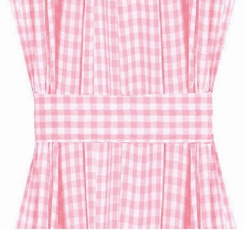 Light Pink Gingham French Door Curtain Panels Available