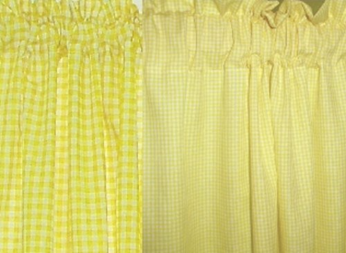 Mini Check Yellow Gingham French Door Curtain Panels