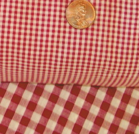 Red Mini Check Gingham French Door Curtain Panels
