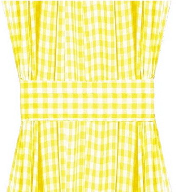 Yellow Gingham French Door Curtain Panels Available In