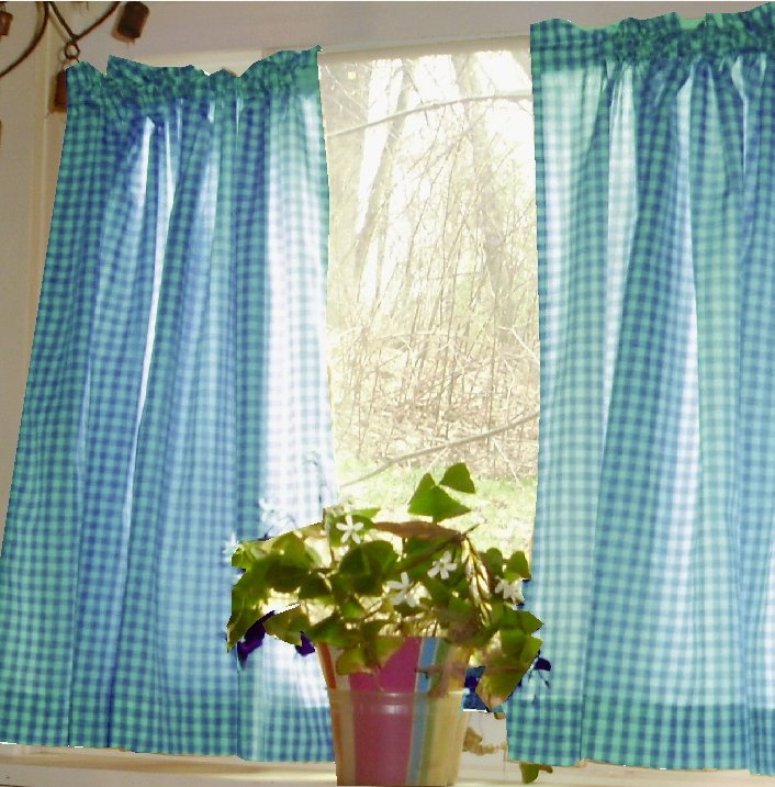 Turquoise Gingham Kitchen/Café Curtain (unlined Or With