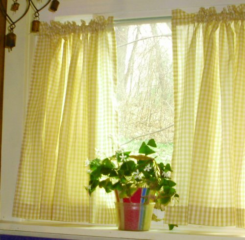 yellow kitchen curtains yellow gingham kitchen caf 233 curtain unlined or with white 28720