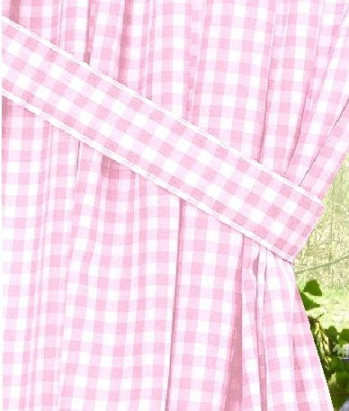 Light Pink Gingham Check Window Long Curtain Available In