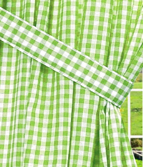 Lime Green Gingham Check Window Long Curtain Available In