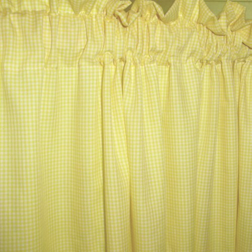 Mini Yellow Gingham Check Window Long Curtain Available In Many Lengths And With Or Without White Blackout Lining