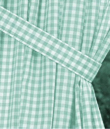 Mint Green Gingham Check Window Long Curtain Available In
