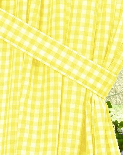 Yellow Gingham Check Window Long Curtain Available In
