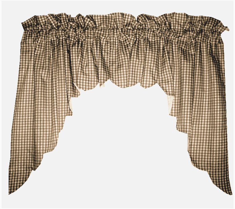 Brown Scalloped Window Swag Valance With White Lining