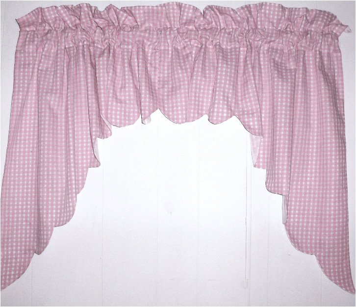 Light Pink Scalloped Window Swag Valance With White Lining Optional Center Piece