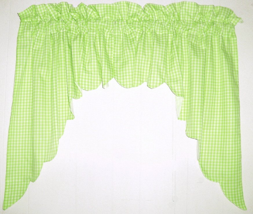 Lime Green Scalloped Window Swag Valance With White Lining