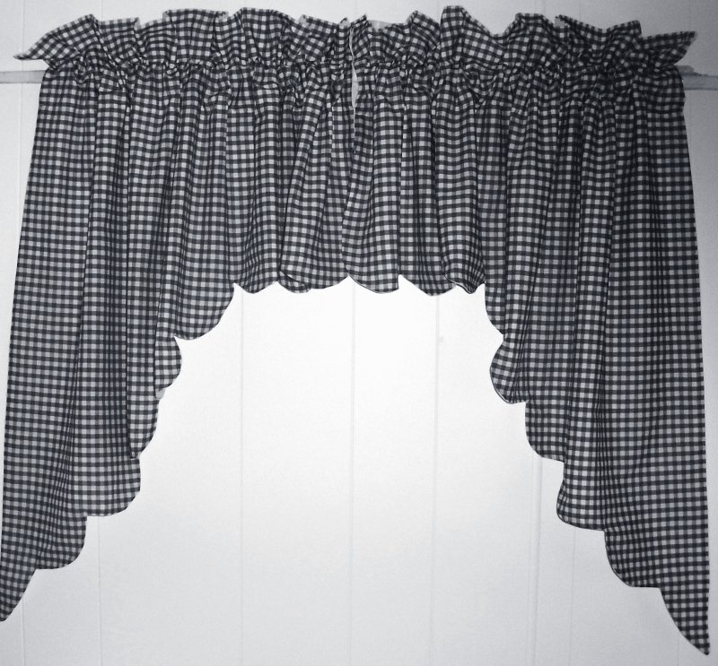 Navy Blue Scalloped Window Swag Valance With White Lining