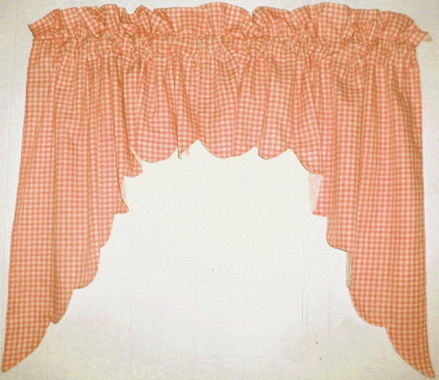 Orange Scalloped Window Swag Valance With White Lining