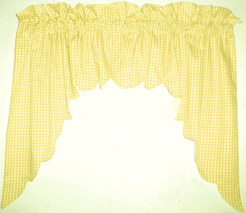 Yellow Scalloped Window Swag Valance With White Lining