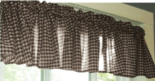 Brown And White Checker Pattern Gingham Valance