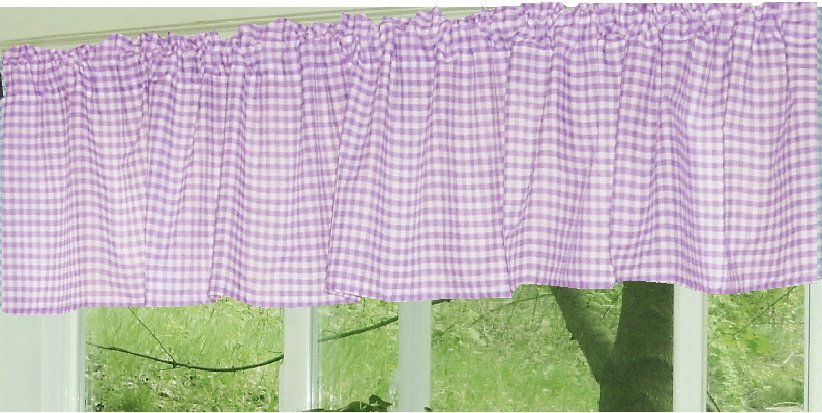 Light Purple And White Checker Pattern Gingham Valance