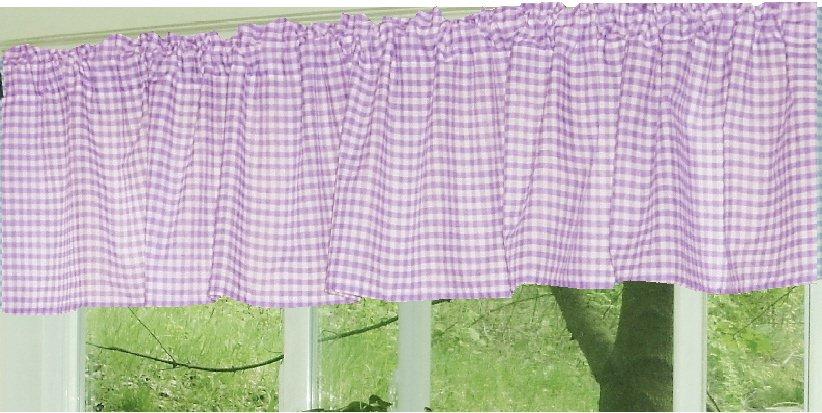 Light Purple And White Checker Pattern Gingham Valance