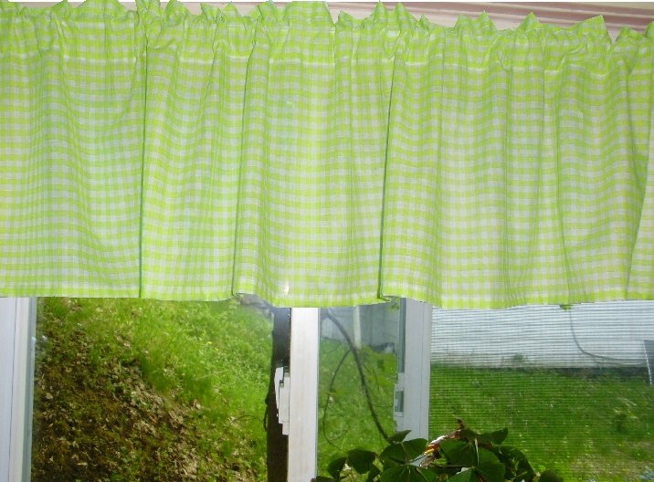 Lime Green Gingham Kitchen Caf Curtain Unlined Or With White Or Blackout Lining In Many Custom