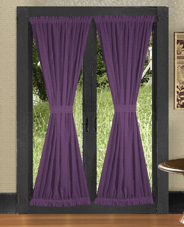 Curtains For Room Window Solid Purple Colored French
