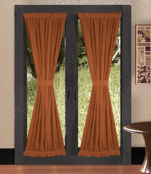 solid rust colored french door curtain available in many