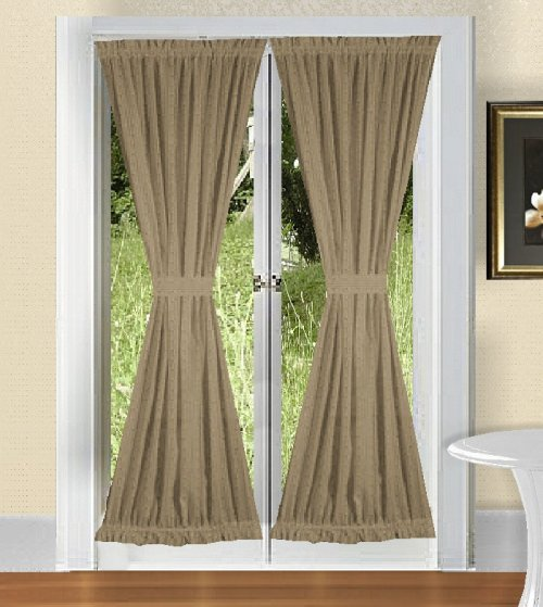 Solid Taupe Khaki Colored French Door Curtain Available