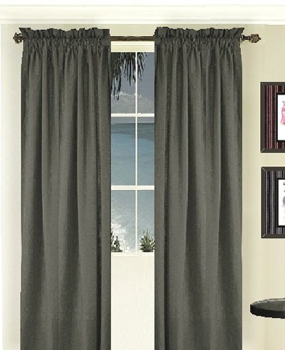 Solid Charcoal Gray Colored Long Window Curtain Available In Many Lengths And 3 Rod Pocket Sizes