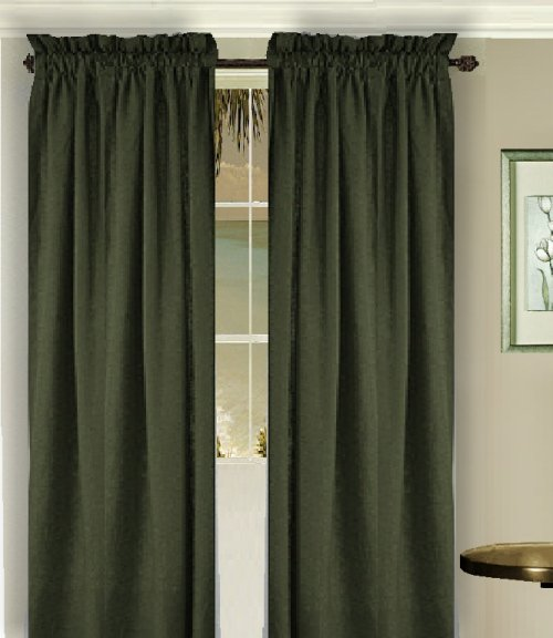 Solid Dark Forrest Green Colored Long Window Curtain