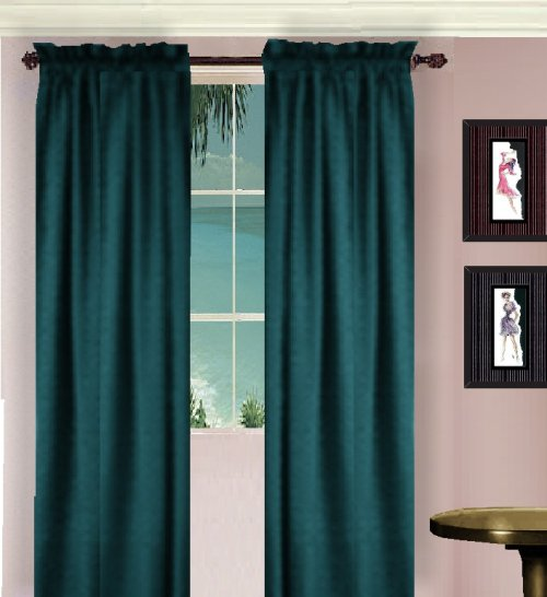 Solid Dark Teal Colored Window Long Curtain Available In