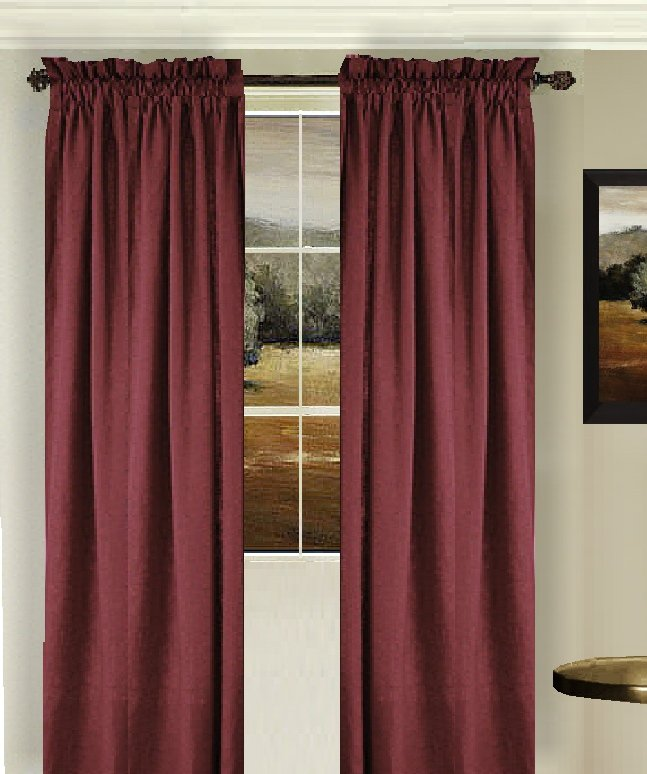Solid Dark Wine Colored Window Long Curtain Available In Many Lengths And 3 Rod Pocket Sizes